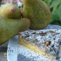 Crostata di pere e Streusel (crumble) ai semi di papavero