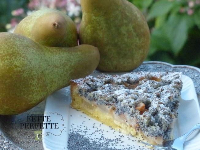 Crostata di pere e Streusel ai semi di papavero